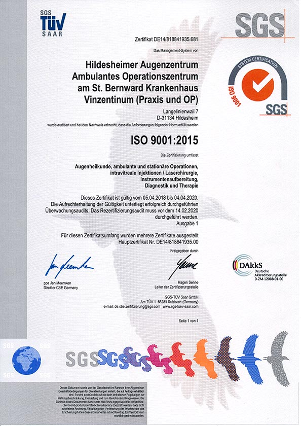 Qualitätsmanagementsystem nach DIN EN ISO 9001 : 2015 im Hildesheimer Augenzentrum